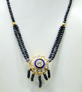 Ethnic Vintage 22k Gold Pendant Necklace Strung With Blue Sapphire Gemstone Bead