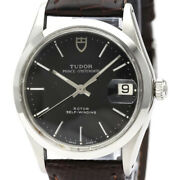 Auth Tudor Watch Oyster Date Ss Leather Automatic 75204 Black Case34mm