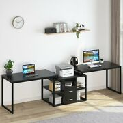 114 Computer Desk With Shelves And Drawers Side-by-side Workspace For Two Person
