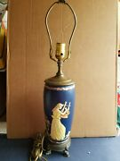 Weller Blue Neoclassical Style 24 Pottery Lamp Brass Dolphin Accent Base