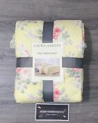 Laura Ashley Full/queen Quilt - Melany Ruffled Yellow Pink Cottage - Shabby Chic
