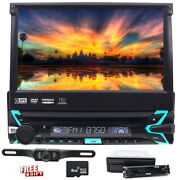 7 Single Din Car Radio Player Flip Out Head Unit Touch Screen Dvd Cd Lcd Camera