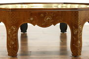 Walnut Octagon Antique Coffee Table Glass Top Brass Edge Painted Baker 38387