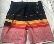 Nwt Ocean Current Mens Board Surf Shorts Swimsuit Size 34 4-way Stretch