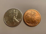 Lady Liberty 2021 Eagle1 Oz. Silver Round Silver And Copper Set Of 2 .999 Coin