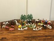 52 Vintage Plastic Toys Farm Animals Figures Made In Hong Kong 50-60andrsquos
