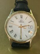 Omega Watch 14k Yellow Gold With Calendar And Roman Numerals
