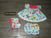 Handmade Doll Clothes For 18 - 20 Baby Dolls - Flying Kites Dress And Hat Set