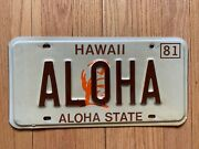 Vintage 1981 Hawaii License Plate Authentic Aloha Plate And Very Rare