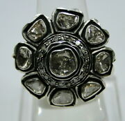 Victorian 14k Solid Gold Sterling Silver Diamond Floral Ring Jewelry Free Ship