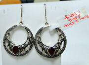 Vintage Diamond And Ruby Gemstone Earrings 14k Gold Silver Dangles Victorian