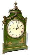 Antique Double Fusee Green Lacquered Chinoiserie Mantel Bracket Clock