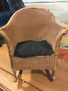 1920and039s Childand039s Antique Wicker Rocker Furniture Chair