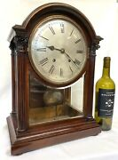 Antique Large Mahogany Library Mantel Clock With Bevelled Glass Panels By W And H