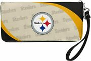 Nfl Pittsburgh Steelers Ladies Curved Zip Wallet Organizer With Detachable Strap