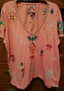 Nice Sz L Johnny Was Georgia Peach V-neck Saguaro Relaxed Embroidered Tee Top