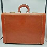 Vintage Suitcase 1930s 1940s Luggage Old Hard Side Brown 15 Inch Storage Decor