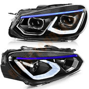 Headligths For 2010-2014 Volkswagen Golf 6 Front Led Headlamps Replacement Black