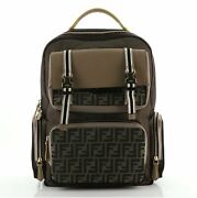 Fendi Multi Pocket Backpack Nylon With Zucca Canvas And Leather Large