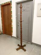 Antique American Victorian Hand Crafted Speckled Folk Art Hall Tree Hat Rack