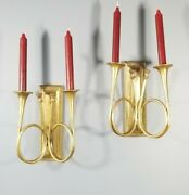 Set Of Old Vintage Solid Brass French Horn Taper Candle Hanging Wall Sconce 10''