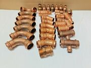 Lot Of 33 1-1/2 Propress Copper Fittings Tee Elbow Coupling Reducer