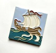 Antique Arts And Crafts Faience Pottery Tile Ship By Wheatley After Grueby Design