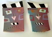 Memphis Group Style Pottery Face Bowls By Bruce Lenore 1988 Set Of 2 Signed Rare