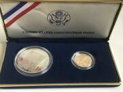 1987 U.s. Mint Constitution 2 Coin Proof Set 5 Gold + 1 Silver W/box And Coa