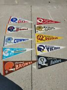 Lot Of Vintage Football Pennants 1967 Browns, Redskins, Bears, Cowboys, Dolphins