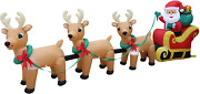 12 Foot Long Lighted Christmas Inflatable Santa Claus On Sleigh With 3 Reindeer