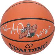 Shawn Kemp Seattle Supersonics Signed Team Logo Basketball And Reign Man Insc