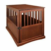 Large Dog Pet Crate End Table Furniture Wood Walnut Finish Family Room New
