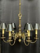 """Vintage Stately Solid Brass Bouillotte Chandelier French Colonial Georgian 26"""" A"""