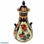Antique English Gaudy Welsh Water Bottle Wine Carafe Hand Painted Excellent
