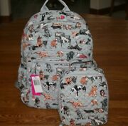 Vera Bradley Best In Show Campus Backpack And Lunch Bunch Tote Bag Dog Puppy New