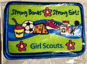 Girl Scout Fun Patch Strong Bones, Strong Girls Lot Of 2 Patches