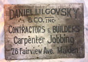 Antique Hand Painted Wooden Sign Malden Ma Jobbing Great Lettering Patina Boston