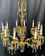 Very Rare Large Antique Chandelier With Crystals Late 19th Century