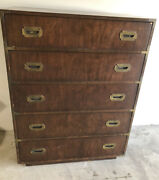 Vintage Dixie Furniture Campaign Style Chest 5 Drawer High Dresser
