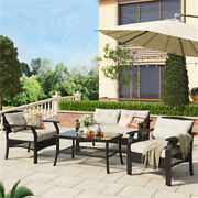 4 Pcs Outdoor Rattan/wicker Patio Sofa Sets With 4 Inches Cushions Glass Table
