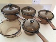 Vintage Corning Pyrex Amber Vision Ware Glass Cookware 9 Pc Set Pots