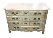 Early 20th C Chest French Blue Painted Dresser Shabby Antique Chic Commode Vintg