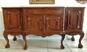 Large Antique/vtg Solid Mahogany Heavily Carved Marble Top Sideboard Buffet