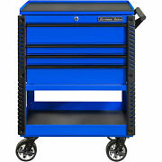 Extreme Tools Ex3304tcblbk 4 Drawer Blue Deluxe Tool Cart W/bumpers Black Pulls