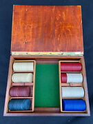 Vintage Wood Poker Box - Chips, Clay And Paper Fleur Di Lis