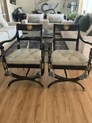 Pair Of Early 19th Century English Empire Style Black Lacquered Armchairs