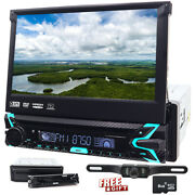 7 In Dash Single 1din Car Radio Player Flip Out Head Unit Touch Screen Dvd Cd