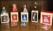 4 Hallmark Barbie Christmas Ornaments 1995 - 2005, 4 Cards And 5 Boxes Mint