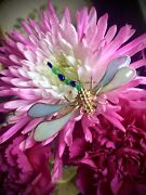 Christian Dior Dragonfly Brooch Gripoix Glass Vintage Germany 1966 One Of A Kind